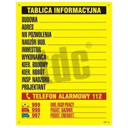 Budowlana Tablica Informacyjna 3 kolory