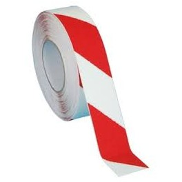 Taśma samoprzylepna podłogowa biało czerwona 33m
